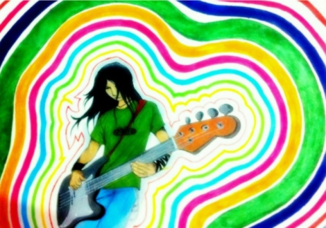 Here is an artist's depiction of feeling 'colorful' when music is in the air. Painting by Chan Siva.