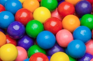 Close-up of multi-colored gumballs