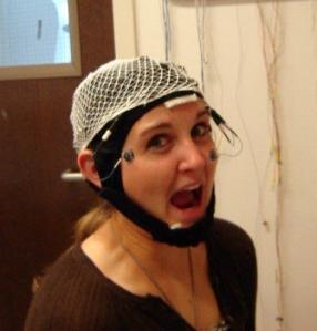 Figure 1. Jillian wears an EEG cap.