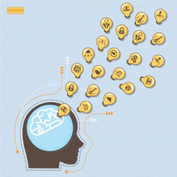Several icons in light bulb shape coming out from a brain
